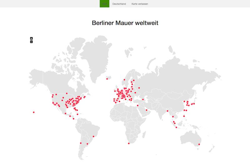 The Wall Net, ein virtuelles Projekt, dokumentiert die verbliebenen Reste der Berliner Mauer, mehr oder weniger vollständige Segmente, an ihren heutigen Standorten in ihrem jeweiligen Kontext. Das, was einst an einem Ort trennte, wird so zu einem weltumspannenden Netzwerk.